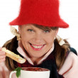 Woman With Soup — Stock Photo #11666361