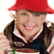 Woman With Soup — Stock Photo
