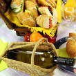 Stock Photo: Wine And Picnic Hamper