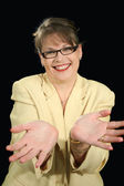 Hands Out Businesswoman — Stock Photo