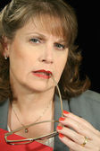 Roter ordner geschäftsfrau 4 — Stockfoto