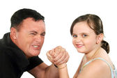 Father And Daughter Arm Wrestle 1 — Stock Photo