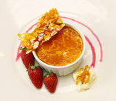 Baked Custard And Praline — Stock Photo