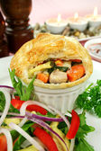 Homestyle Chicken And Vegetable Pie — Stock Photo