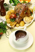 Gravy Boat With Lamb Leg — Stock Photo