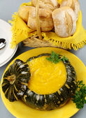 Pumpkin Soup With Bread Rolls — Stock Photo