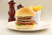 Triple Decker Hamburger — Stock Photo
