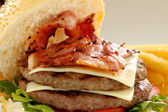Double Bacon And Cheese Burger — Stock Photo