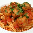 Pasta With Chicken Meat Balls — Stock Photo