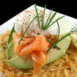 Salmon And Poached Egg Stack — Stock Photo #11778628