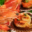 Pan Fried Scallops And Shrimps — Stock Photo