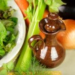 Stock Photo: Olive Oil Pourer With Vegetables