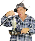 Fry Pan Fisherman — Stock Photo