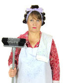 Frumpy Housewife With Broom — Stock Photo
