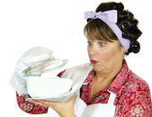 Frumpy Cooking Housewife — Stock Photo