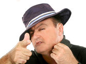 Man In Hat Pointing — Stock Photo