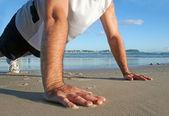 Pushups On The Beach — Stock Photo