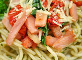 Bacon Pesto Pasta — Stock Photo