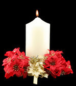 Christmas Candle Red Flowers — Stock Photo