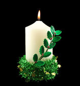 Christmas Candle With Holly — Stock Photo