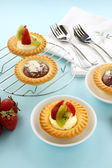 Cream And Chocolate Tarts — Stock Photo