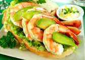 Shrimp And Avocado Sandwich — Stock Photo