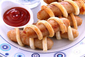Pastry Chicken Sausages — Stock Photo