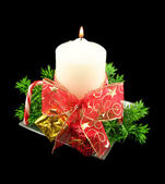 Xmas Candle With Bow And Decorations — Stock Photo