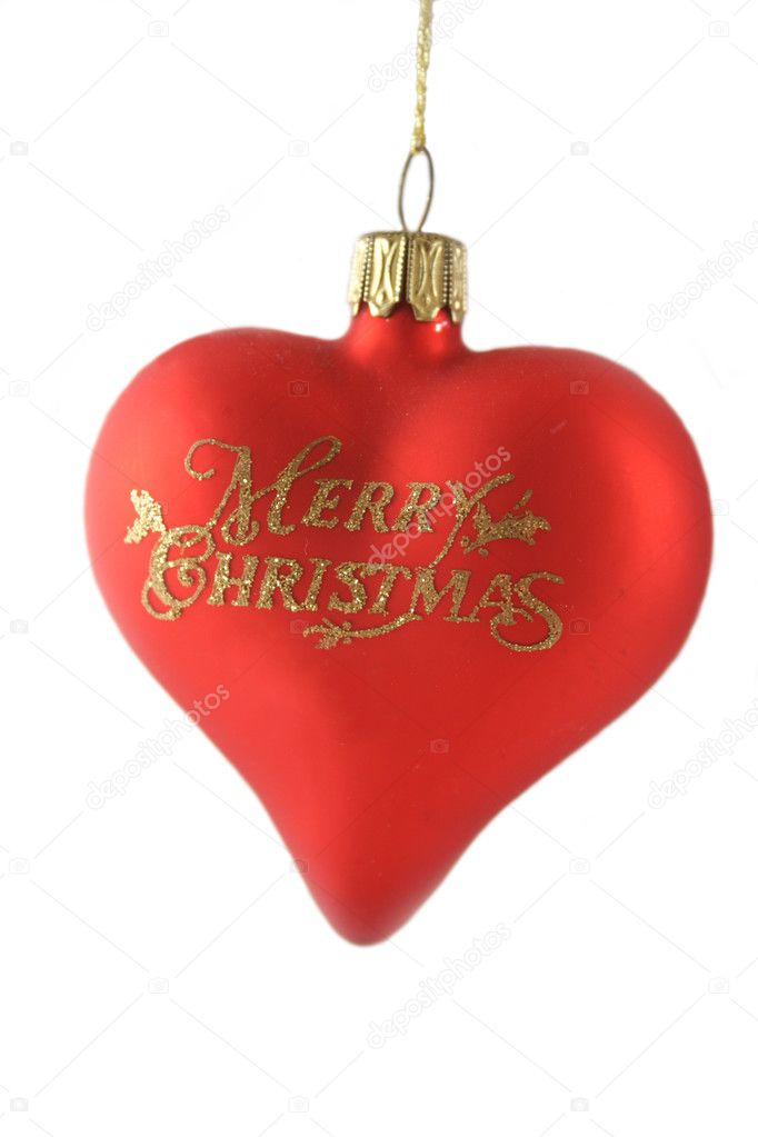 Red Christmas love heart decoration with gold glitter lettering. — Stock Photo #11779088