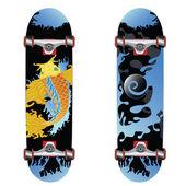 Coy fish skateboard design — Stock Vector