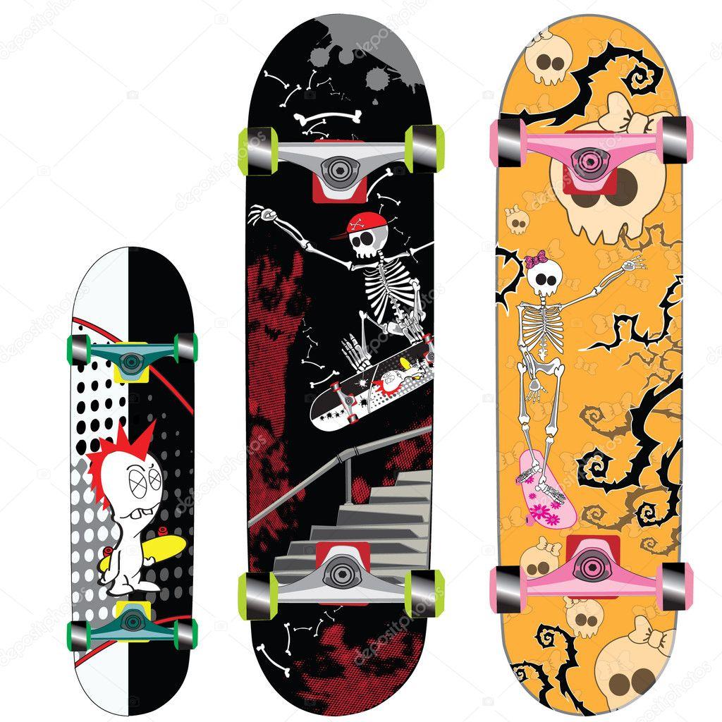 Скейти с дизайном черепами