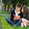 Boy and girl reading a book sitting on the grass — Stock Photo