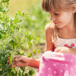 The little girl in the garden — Stock Photo