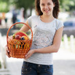 Stock Photo: Young caucasigirl with basket