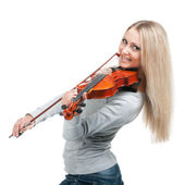 Young smiling girl playing the violin — Stock Photo