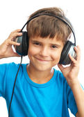 Smiling boy with headphones — Stock Photo