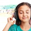 The girl listening to music — Stock Photo