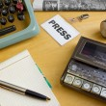 上世纪 80 年代记者办公桌 — 图库照片 #11918665