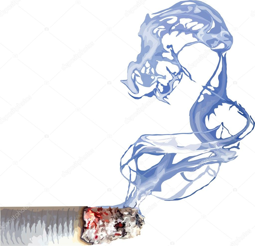 Piece of steaming cigarettes with smoke — Stock Photo #11268837
