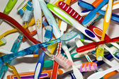 Old toothbrushes — Stock Photo