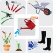 Gardening icons set, vector illustration — Stock Vector