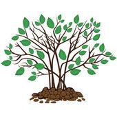 Bush med blad i marken, vektor illustration — Stockvektor