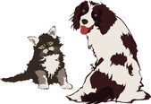 Dog and Cat, vector illustration — Stock Vector