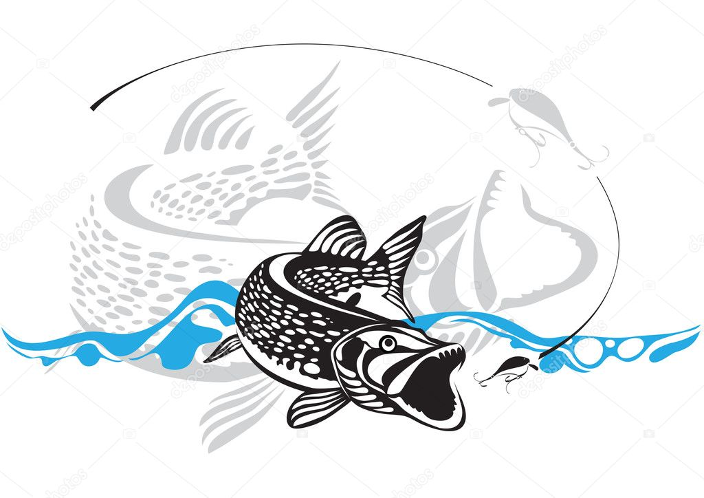 Pike, fishing lure, vector illustration — Stock Vector #11386788