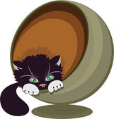 Black and white cat in a round recliner, vector illustration — Stock Vector