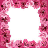 Flowers frame, floral vector background — Stock Vector
