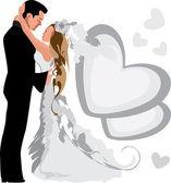 Wedding. Couple. — Stock Vector