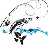 щука, спиннинг, катушка и ненадежный, стилизованные композиции — Cтоковый вектор