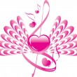 Pink heart with wings, music of love — Stock Vector
