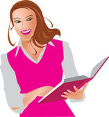 Girl with book, woman and book — Stock Vector